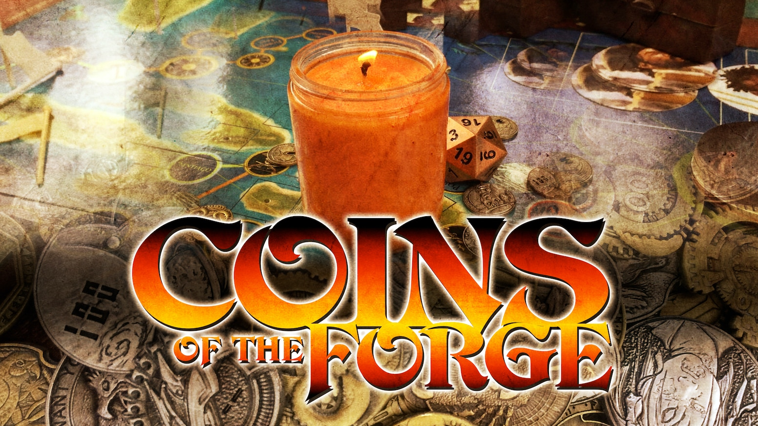 A candle set meant to enhance your tabletop gaming with evocative scents and beautifully designed metal coins!