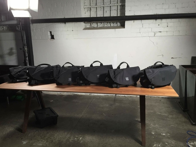 Early prototypes of 7ven Messenger bags