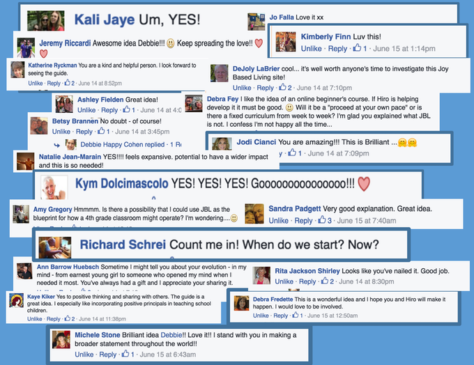 Facebook responses to concept of a JBL Beginner's Guide. Click for larger view.