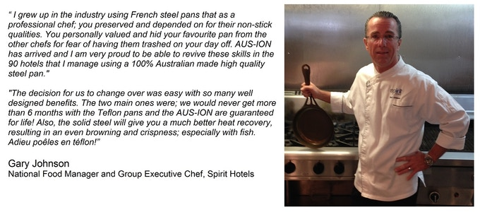 The smart chef/managers/owners are switching over to Australian-made, indestructible, healthy, natural nonstick pans. Not just for health and better cooking, but also for plain economics.