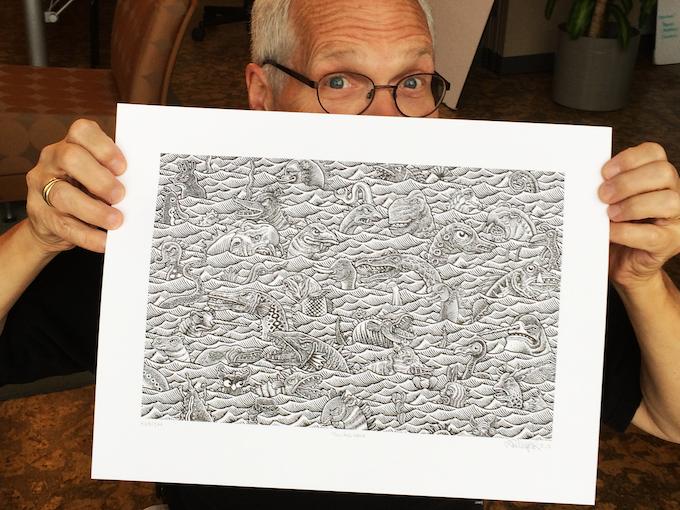 The Sea Monster Jamboree print inspired this amazing shower curtain.