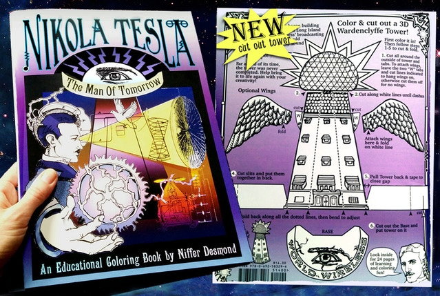 Nikola Tesla Coloring Book Has Finally Arrived New Color And Cut Out Wardenclyffe Tower On Back