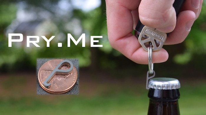 At the size of a penny, Pry.Me is the world's smallest bottle opener. There when you need it, hidden in the shadows when you don't. 100% Titanium. 100% Awesome. 100% Patent Pending.