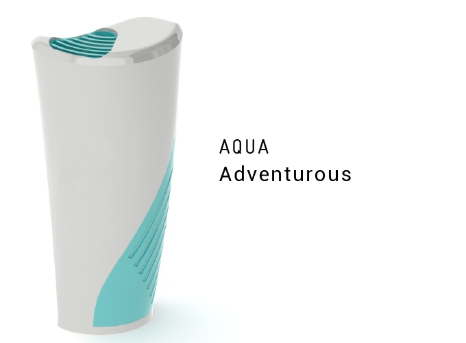 Outtake vent & intake grip accented with a lively aquamarine