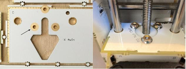 Nuts are soldered to the frame of the machine.