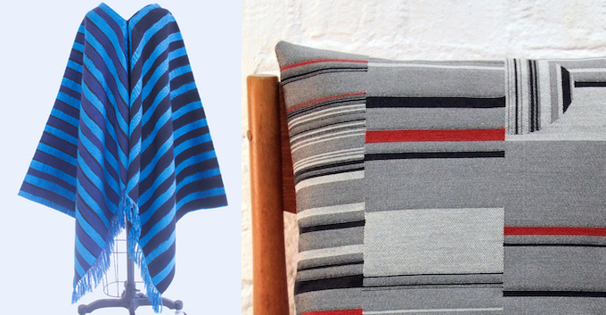 """From Left: Poncho made with 2 yards of Talma Quality fabric in Painted Stripes by Ritsuko Hirai. 18"""" x 18"""" Pillow made with 2/3 of a yard of Divan Quality fabric in Amalia by Carmel Karni."""