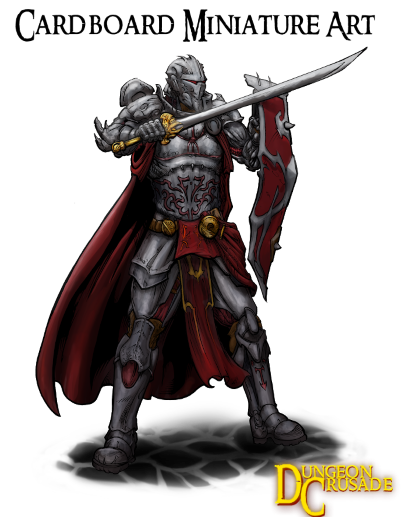 Final art of the knight hero for his cardboard miniature!