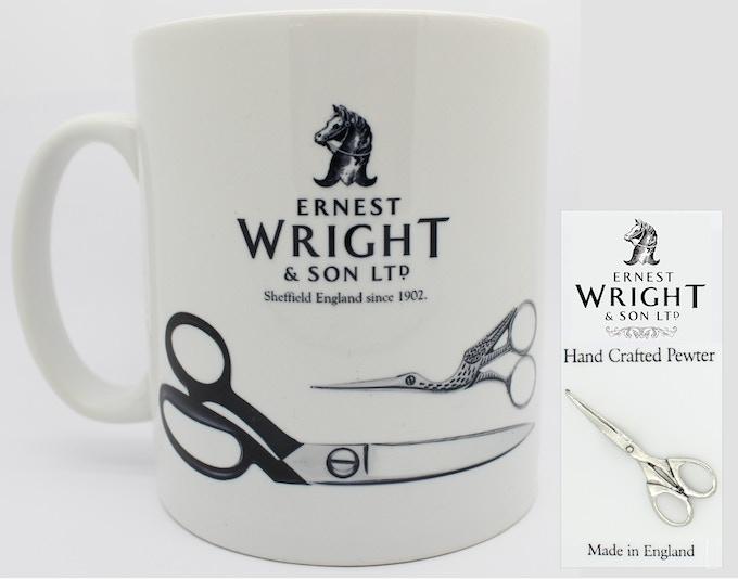 Ernest Wright Mug and Pewter Pin Badge