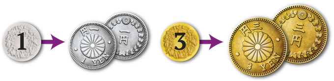 From cardboard to metal coins.