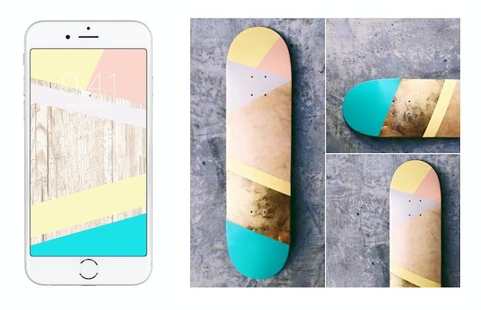 digital wallpaper + painted skate deck