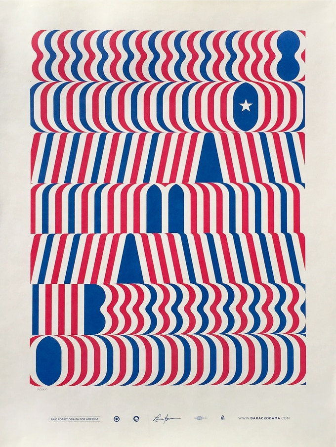 Lance Wyman's ultra-rare limited edition 'Artist's For Obama' poster. Five copies signed by Lance Wyman.