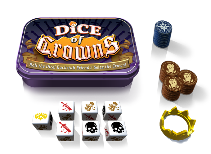 7 Dice, 24 Claim Tokens, 10 Fate Tokens, Instructions, Crown