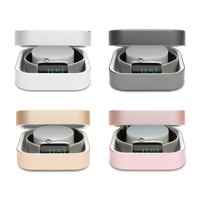 A chic watchcase which enables you to charge Apple Watch on the go, no need to sit at a desk and wait, charges iPhone as well.