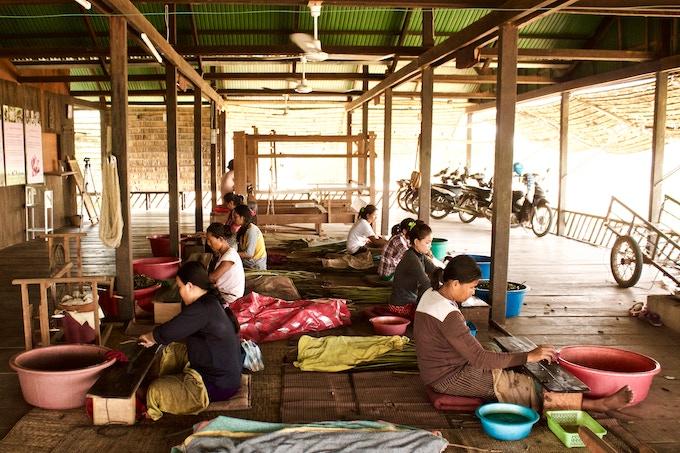 Cambodian Artisans Creating Lotus Flower Fabric at Samatoa