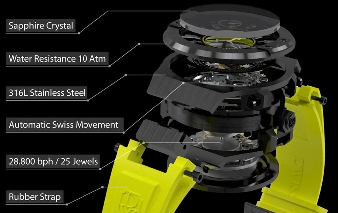 Exploded view of watch complexity