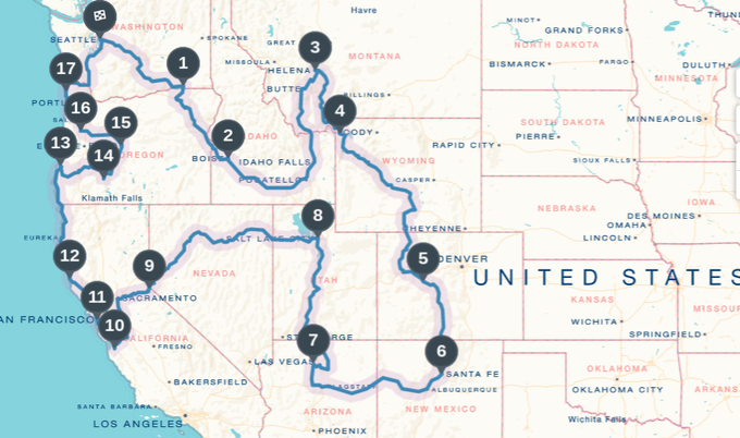 5,500 miles, 11 states, 25 days