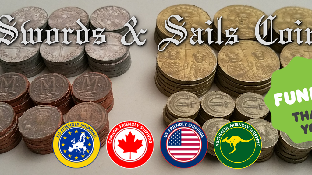 Metal Byzantine coins can be used for many games including Swords & Sails.  4 different denominations  based on actual historic coins.