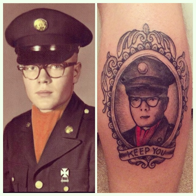 I got this tattoo for my father less than a year before his death. I made the decision to get it before he died because I wanted him to see it. The image to the left is his Army enlistment photo from 1958.