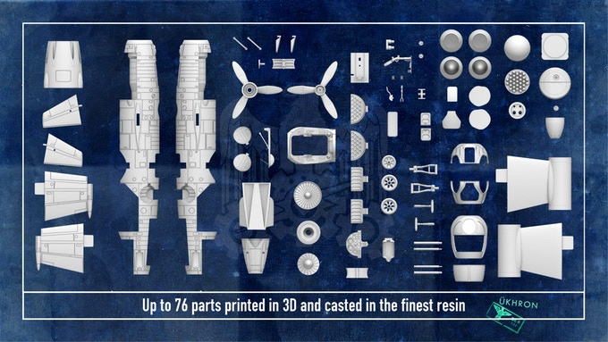 Resin parts of the kit including extras