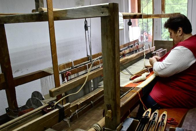 Bulgarian Artisan Weaving on Hand Loom
