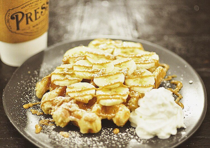 The Elvis - Peanut butter, banana, and honey on our classic Liege waffle