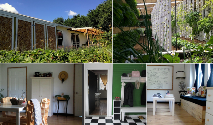 Experimental modular farmhouse (1300 sq ft) with attached greenhouse (800 sq ft) - Factor e Farm (Missouri, US) - Built incrementally between Oct 2013 and Nov 2015 (click for more info)