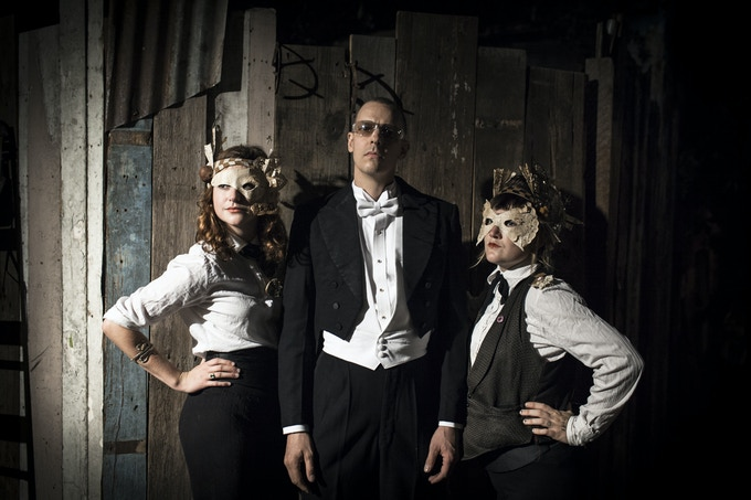 by Wil Widmer: Quintron, conductor of the Shantytown Orchestra, flanked by Caitlin Cowlen and Erin Wilson, contributors to the civic design of The Music Box and ushers that evening