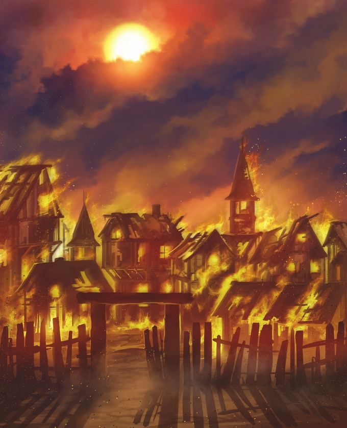 The Burning Village - one of the Challenges you will face in the Quickstart Guide!