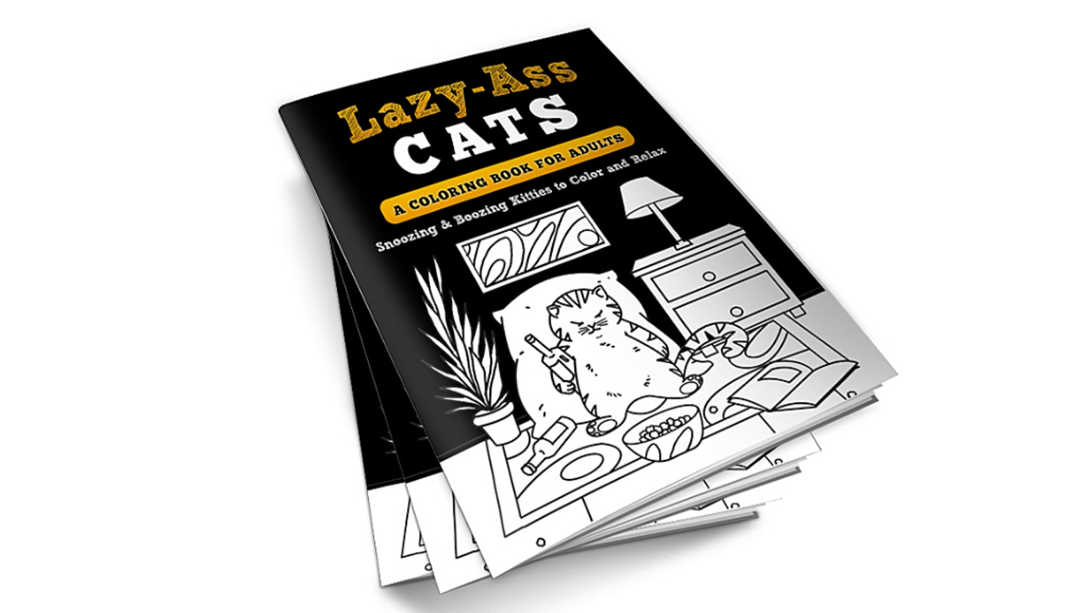An adult coloring book filled with snoozing & boozing kitties for you to color and relax. Irreverent, fun, and super cute!