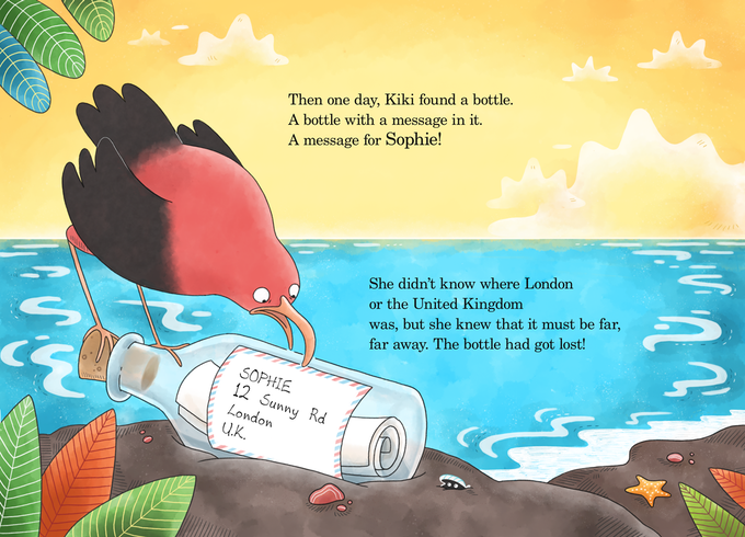 One day a bottle washes up on a beach on the other side of the world. It is discovered by Kiki, a brave little bird. She sees that there is a mysterious message inside...