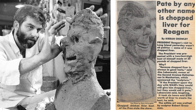 Robert Grossman, working on a bust of Ronald Reagan, made of chopped liver. It was commissioned by Abe Lebewohl of the Second Avenue Deli in 1984.