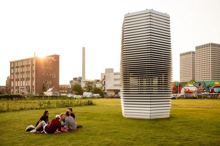 The Smog Tower - currently being tested in Beijing. It uses Ionic charges to filter carbon and small particulate matter out of the air.