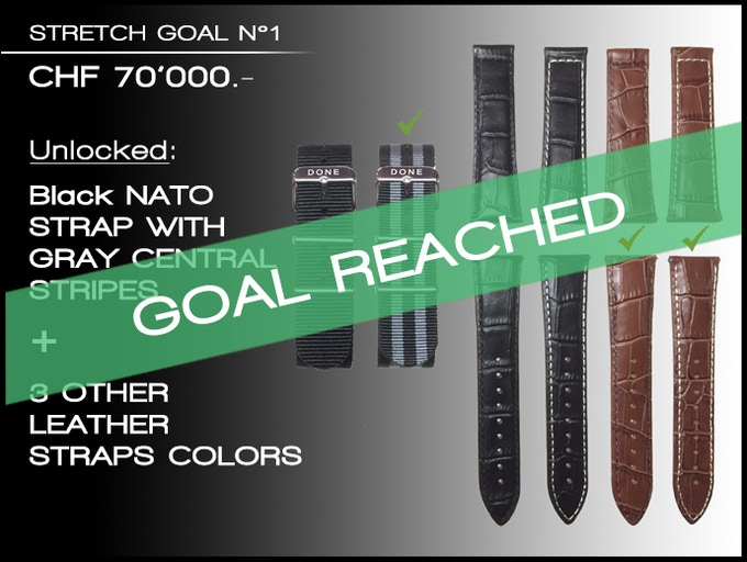Stretch goal N°1 reached: You can choose your NATO & LEATHER strap color at the end of the campaign