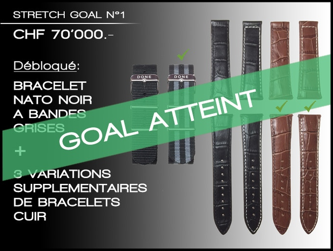 Stretch goal N°1 atteint: Vous aurez le choix entre ces 2 bracelets NATO et ces 4 bracelets en cuir à la fin de la campagne
