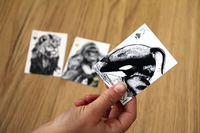 We printed some of the cards at size to show how the illustrations shrink down