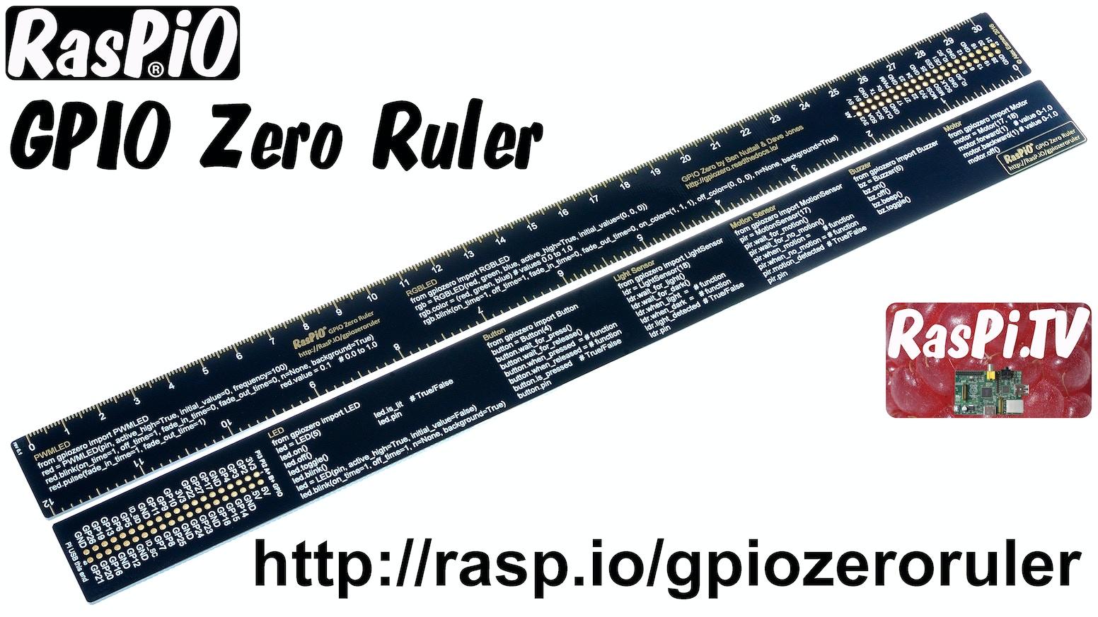 RasPiO GPIO Zero Code Reference Ruler for Raspberry Pi by