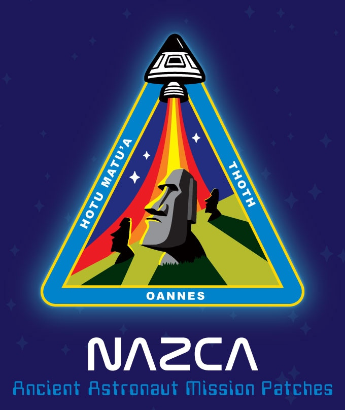 """""""Easter Island Outpost"""" ancient astronaut mission patch featuring the Moai statues."""