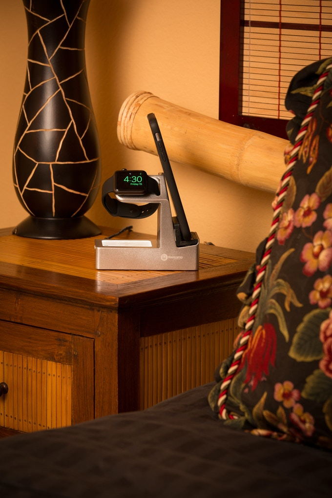 Basecamp Deluxe on the nightstand by your bed