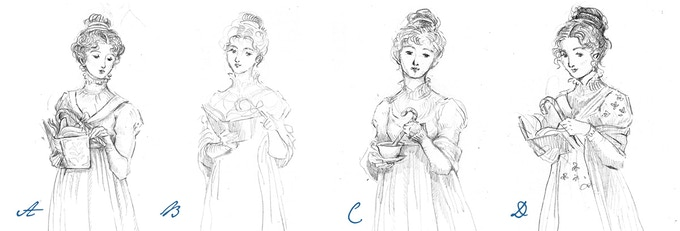 Elizabeth Bennet sketches in the style of the original Pride and Prejudice books