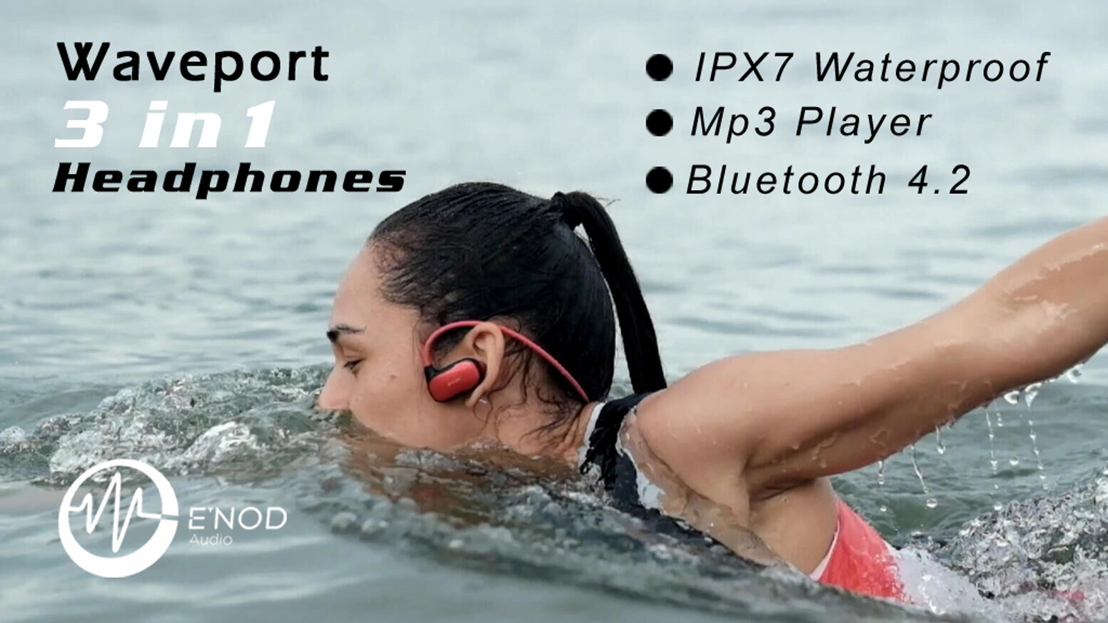 MP3+IPX7 Waterproof+Bluetooth Sport Headphones. Swim far as you can without losing HD audio. Perfect Fitting&Battery Life.