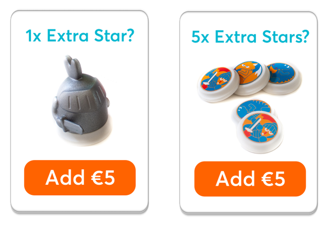 Just add €5, €10, €15 or more to your pledge to order extras. We'll mail you after the campaign to ask for your selection.