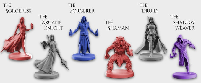 "Each player controls a team of three wizards, respresented by the miniatures above. Each miniature has a 1"" circular base and is between 36-42 mm tall."