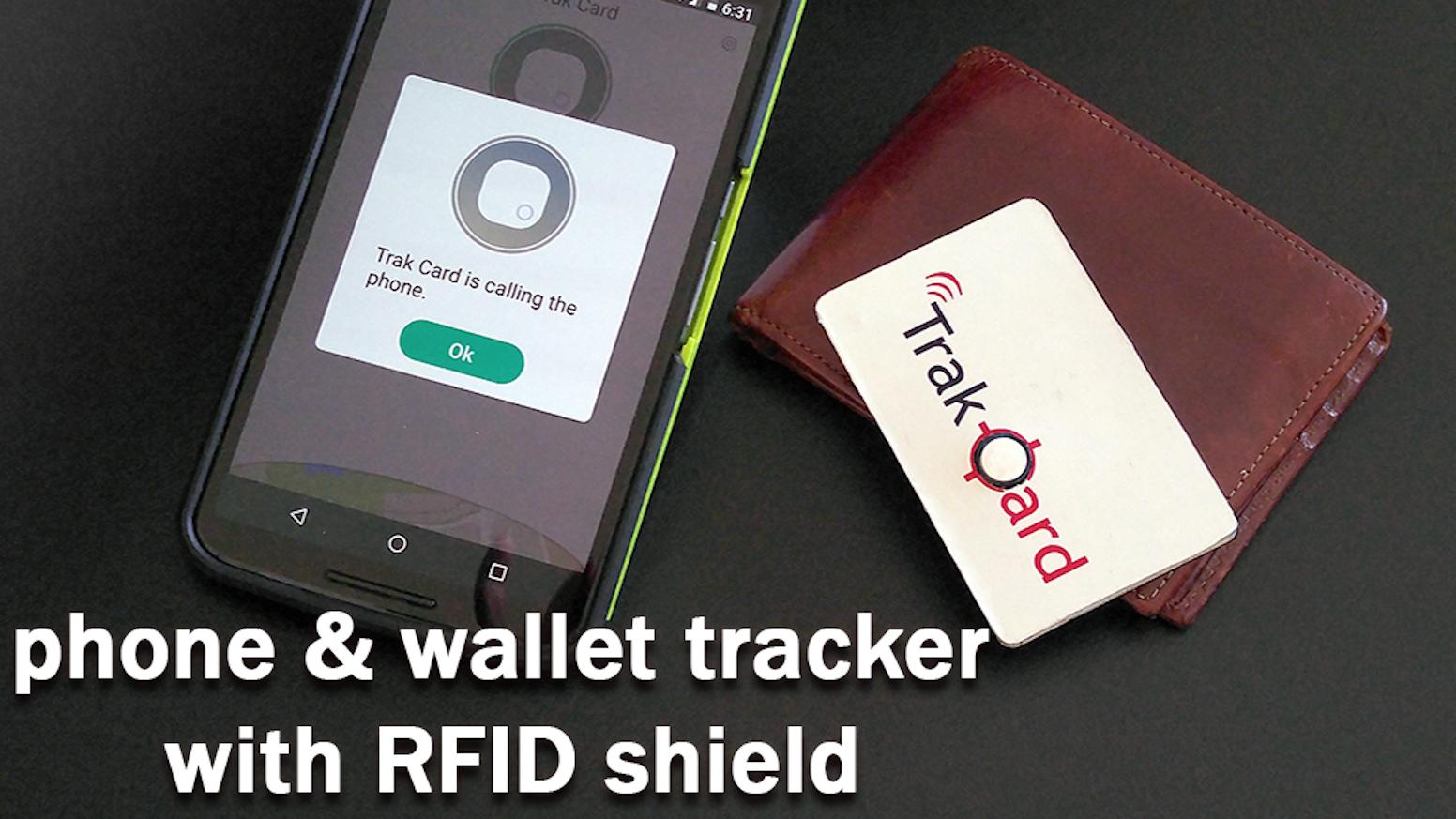 Trak Card Wallet & Phone Tracker w Find Button + RFID Shield