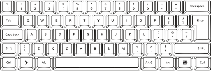 105-key UK layout. Font not actual
