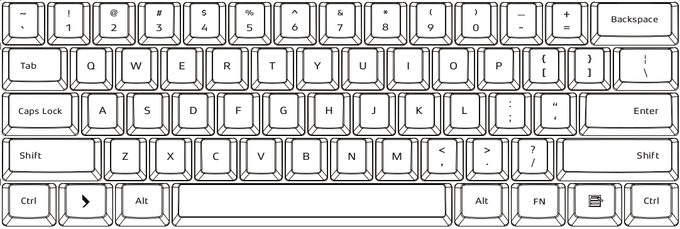 104-key US layout. Font not actual.