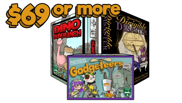Gadgeteers, all unlocked stretch goals, Dino Dude Ranch, and Dirigible Disaster.
