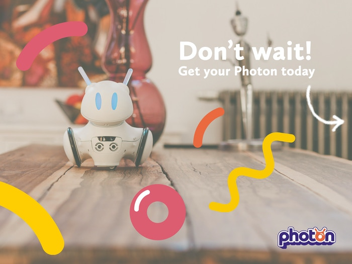 Photon is the first robot that develops together with your child. It makes a child's first steps into the world of technology!
