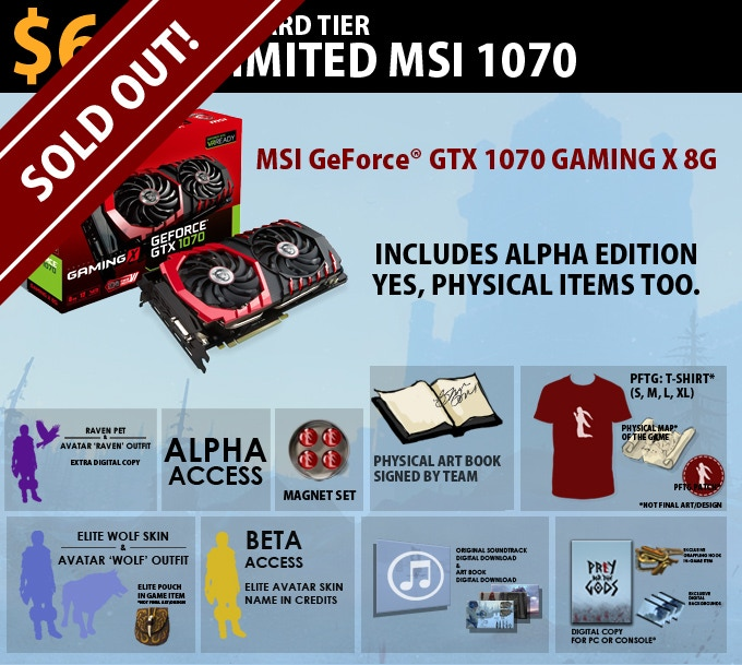 $650 Limited MSI 1070 = MSI Geforce GTX 1070 Gaming X 8G. Includes Alpha Edition.