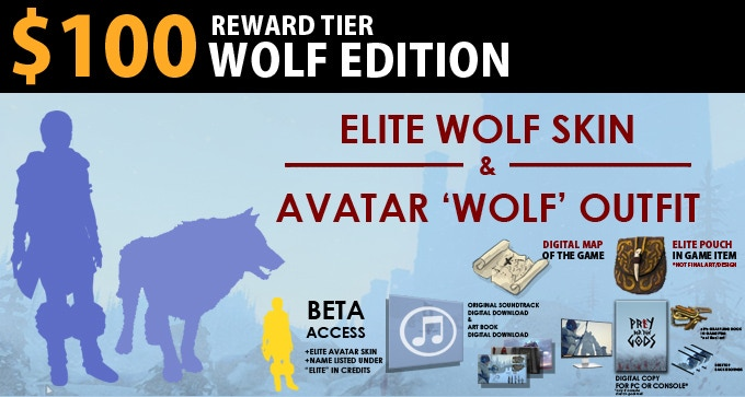 $100 Wolf Edition = Wolf Outfit, Elite Wolf Skin. Includes Explorer Edition.