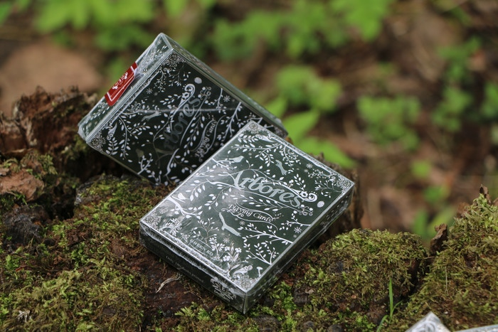 Premium and luxurious custom playing cards with Silver foil. Symbolizes nature and forests. Designed for art lovers.